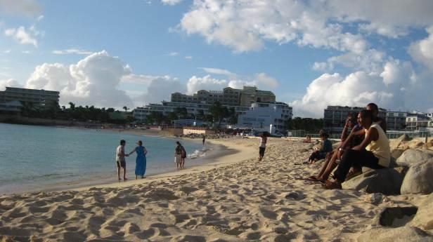 Exploring Maho Beach before school starts.