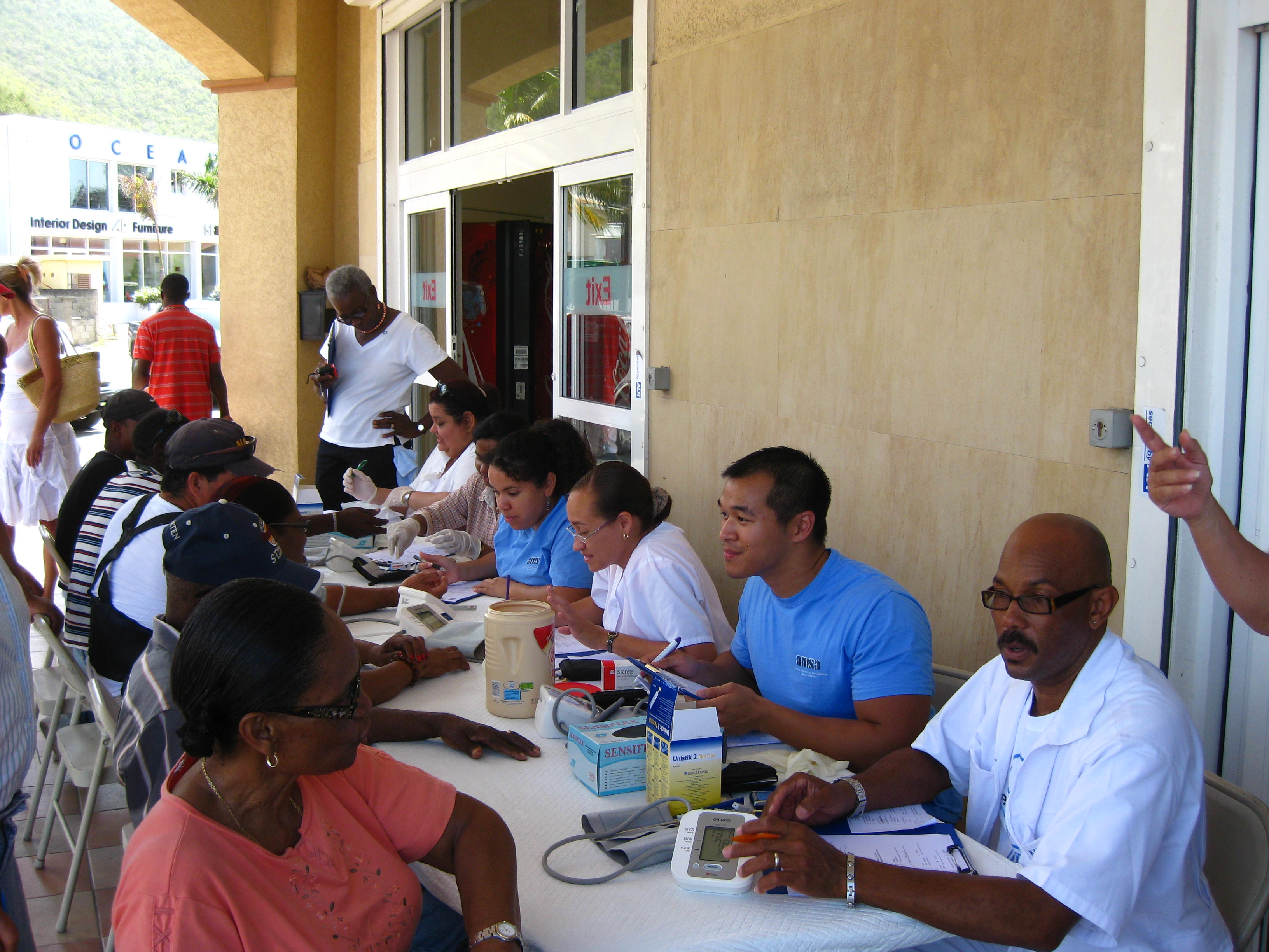 Screening for diabetes in the St. Maarten community, outside of ACE Superstore.