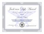New Jack van Dijk Award Certificate