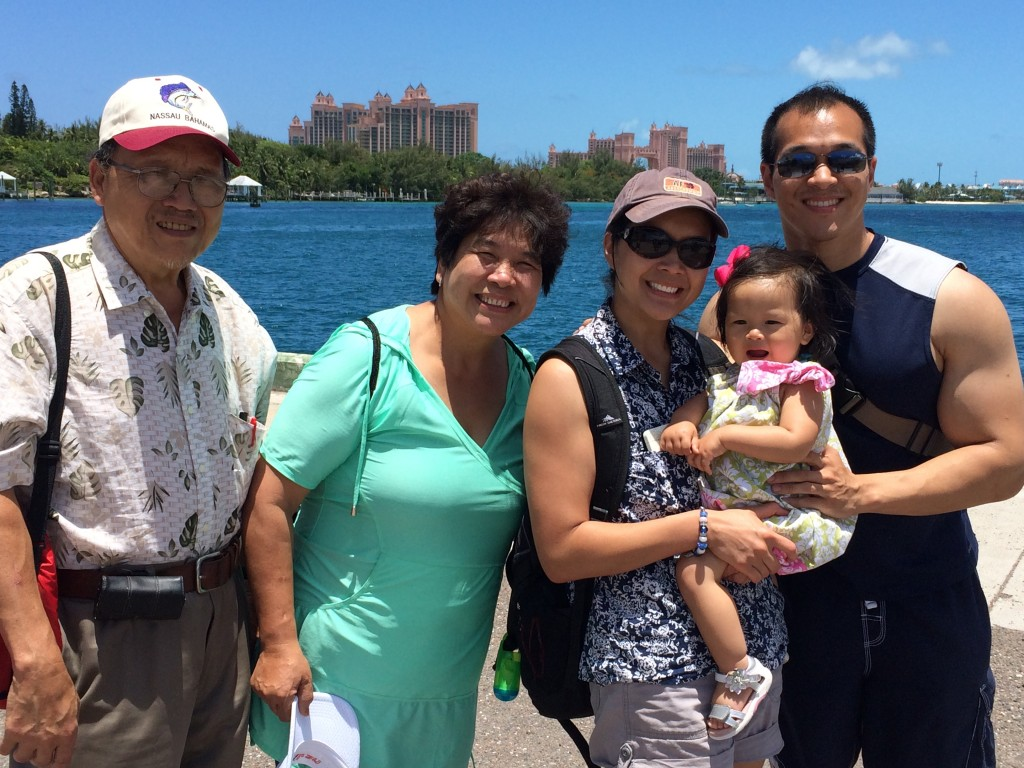 Irene's parents and us in Nassau. Atlantis resort is in the background.