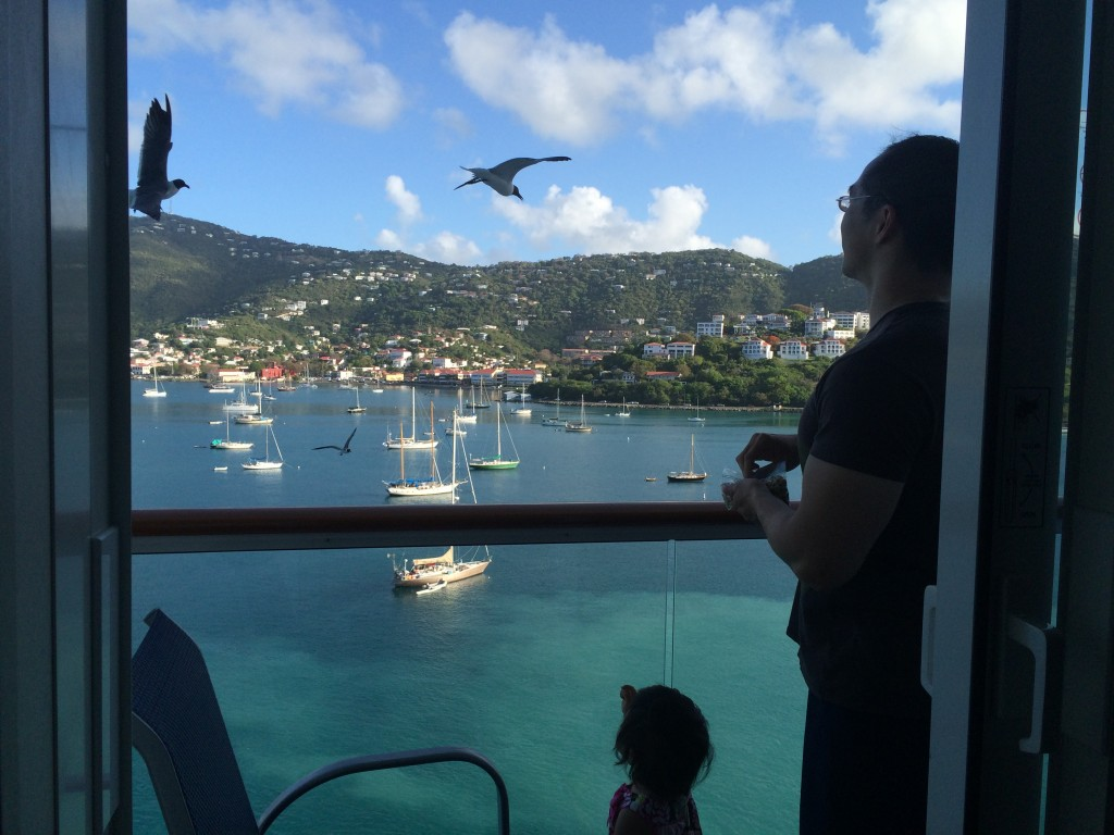 Lyra and I feeding seagulls off our balcony
