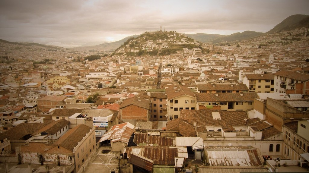 Old Quito from the top of Basilica del Voto Nacional.