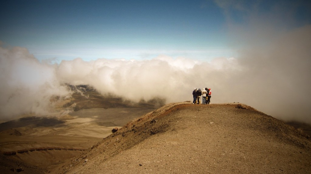 Halfway up Cotopaxi, we could already see above the clouds.