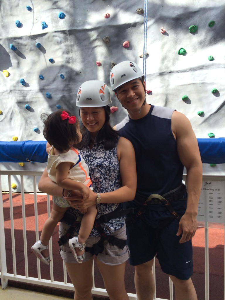 My first time climbing a rock wall, on the ship.