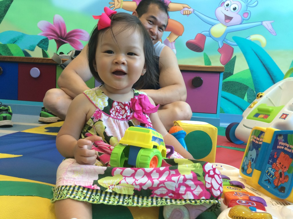 Lyra's chance to have fun in the toddler's playroom.