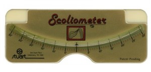 Scoliometer - have patient bend over and place on patient's back to measure angle of incline.