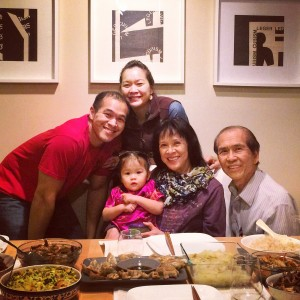Irene, Lyra, and I with my parents over for a Chinese New Year dinner. The perks of living close by family.