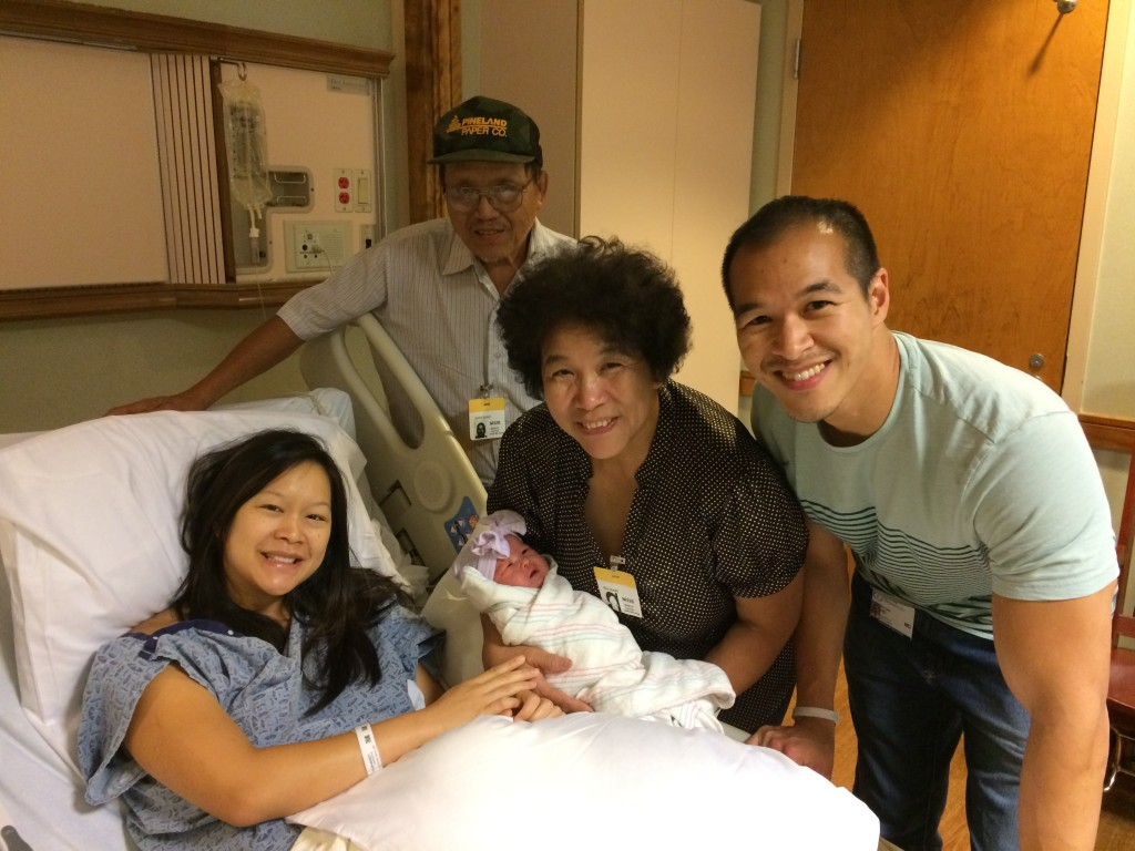 Irene's parents meet their new granddaughter