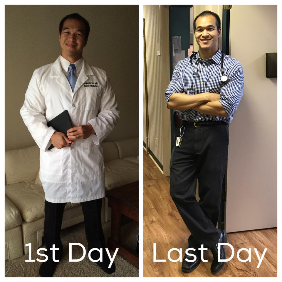 Sometime between the first and last day, I decided to ditch the white coat... I was never good at ironing that thing anyway...