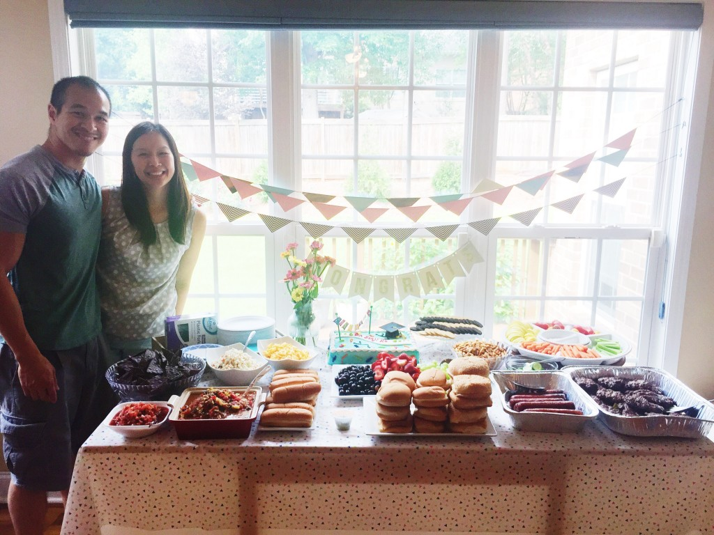 Irene threw me a graduation party - lots of yummy food.